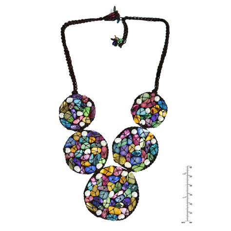 Handmade Bib Necklace - mosaic bib handmade multicolor shell and pearl