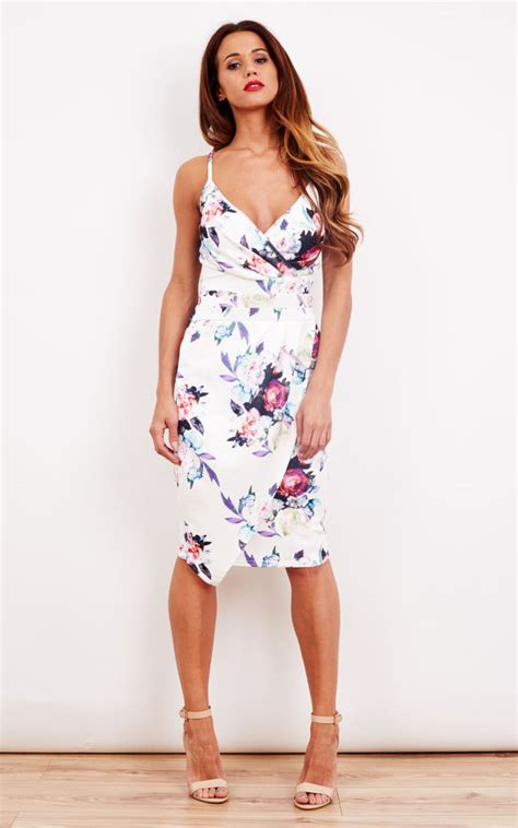 Dic14451 Sf Floral Dress white floral pleated wrap bodycon dress silkfred