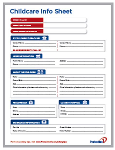 daycare information sheet template free information sheet