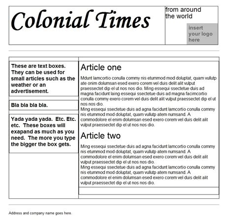 Colonial Newspaper Template Best Business Template Newspaper Templates For Docs