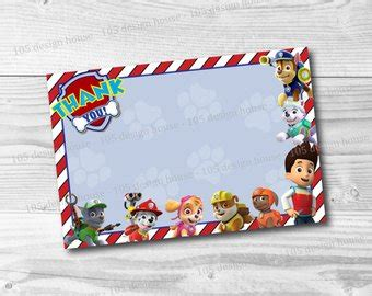 paw patrol thank you card template paw patrol printable s day classroom