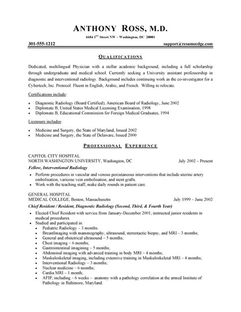 Physician Resume   Free Sample Physician Resumes