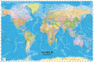 Paper World Map by World Political Map With Sea Contours Educational Maxi