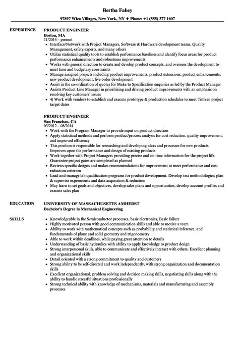 product engineer resume sles velvet