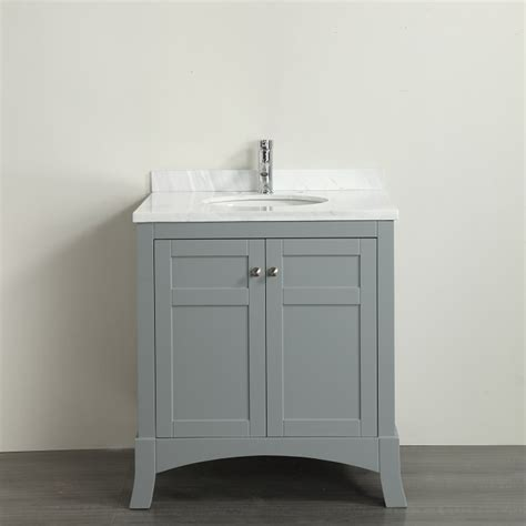 "Eviva New York 30"" Grey Bathroom Vanity, with White Marble"