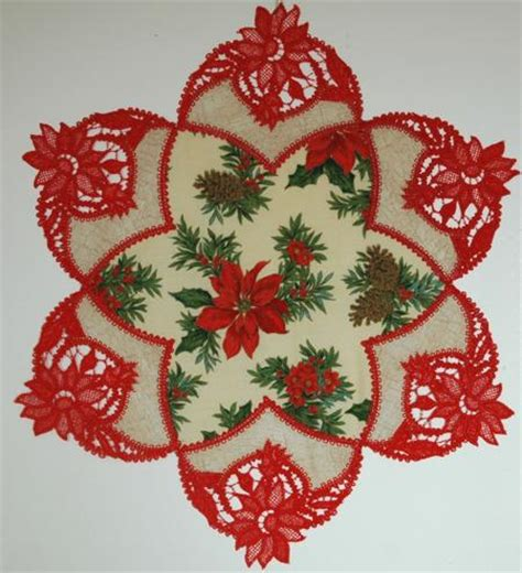 Handmade Embroidery Designs - fsl battenberg poinsettia applique doily advanced