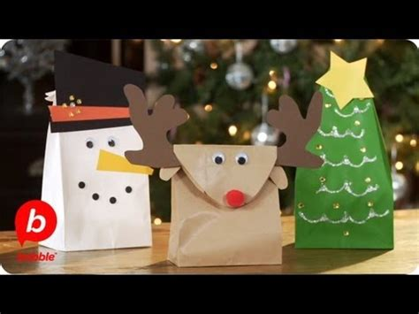 Crafts Using Paper Bags - make 3 gift bags tree reindeer snowman