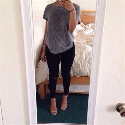 Heels T In Black By shoes black high heels grey t shirt grey top black
