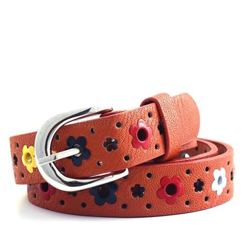 baby toddler colorful flower belt alloy buckle leather