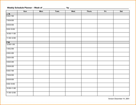weekly schedule template for 6 weekly schedule template expense report