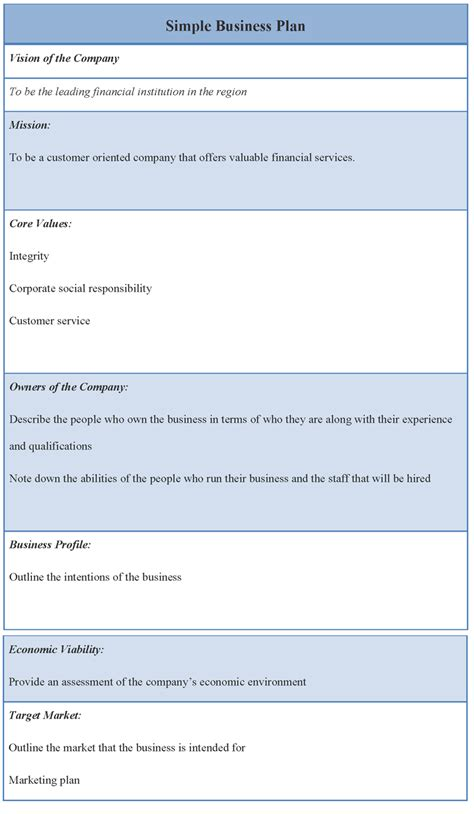 business template simple business plan template vnzgames