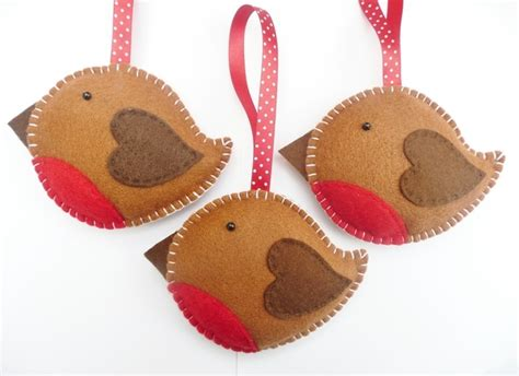 x3 rockin robin felt christmas decorations folksy