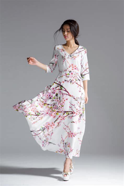 dress motif floral maxi dress korea dress cantik