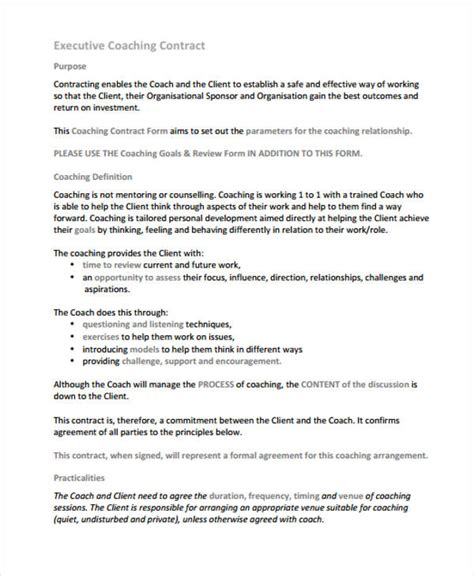 executive coaching agreement template 8 coaching contract templates free sle exle
