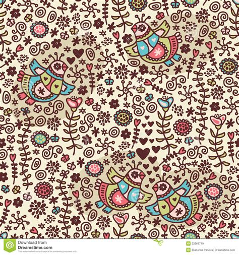 doodle bird free vector seamless pattern with folk birds and flora royalty free