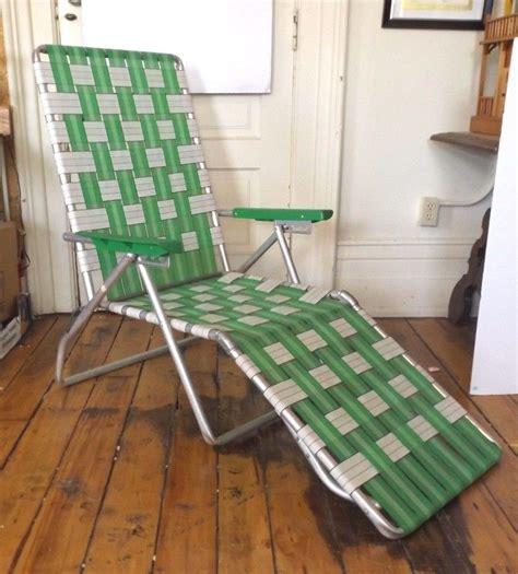 How To Reweb A Lawn Chair by Vtg Aluminum Folding Lawn Chair W Macrame Webbing Blue