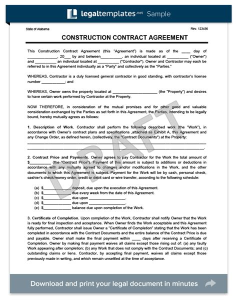 create   construction contract agreement legal