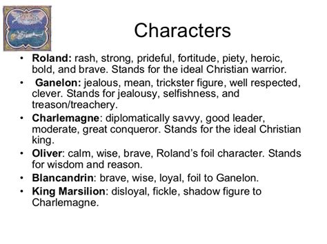 Characters Of The Song Of Roland summary of the song of roland