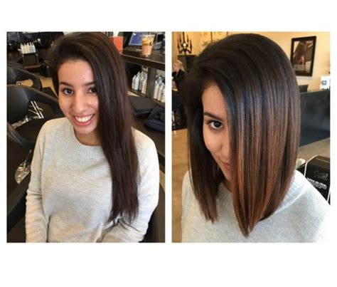 haircut before dye ombre lob before and after carmel hair bayalage hair