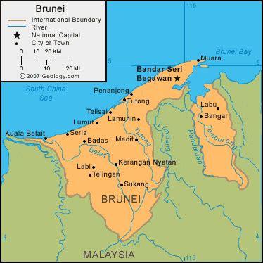 brunei map brunei map and satellite image