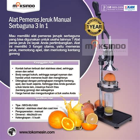 Alat Peras Jeruk Manual Juice Extractor Ossel alat pemeras jeruk manual 3 in 1 serbaguna toko mesin
