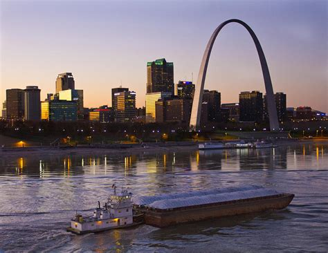 tow boat towboat and barge at st louis photograph by garry mcmichael