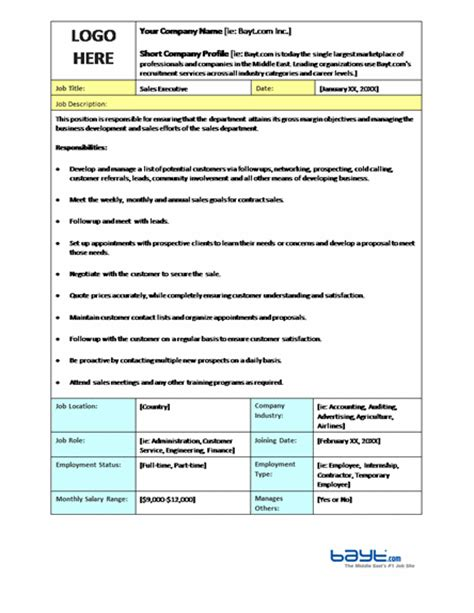 Sales Executive Job Description Microsoft Word Template Job Description Templates Ready Description Template Word