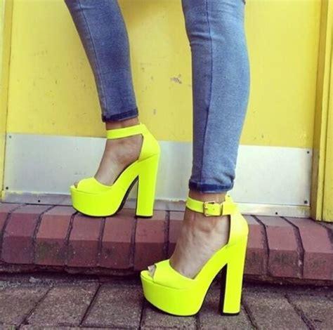 neon color high heels shoes yellow heels bright neon yellow heels high