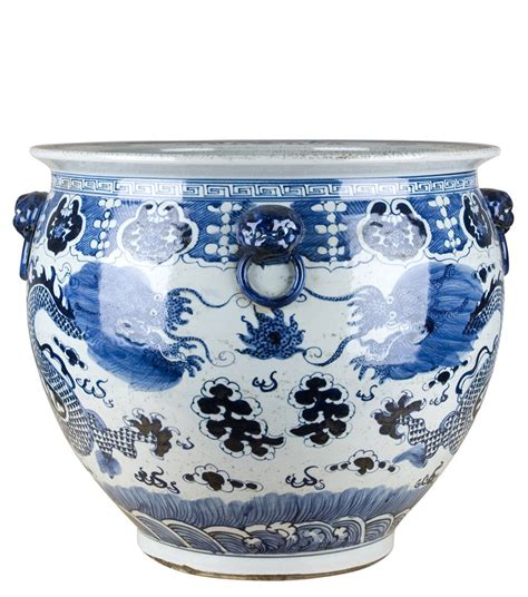 Blue And White Octagonal Planter At The Pink Pagoda Blue And White Porcelain Planters