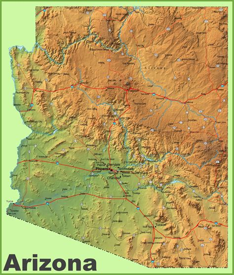 arizona state in usa map arizona physical map