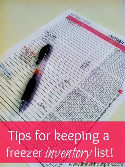 Tips For Creating An Inventory - great idea for a freezer inventory list printables