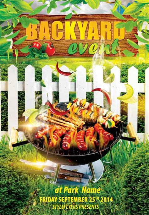 backyard bbq party menu backyard bbq event free flyer template download free psd