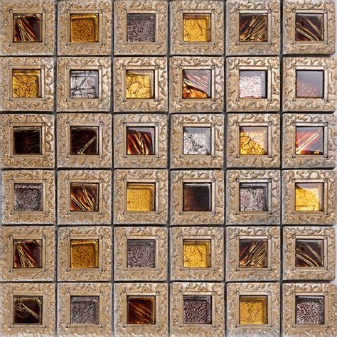 Crystal glass tiles for kitchen and bathroom brown mosaic glass block tv background backsplash