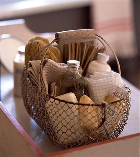 bathroom basket ideas panier savons wire basket of bath supplies like soaps and towels inspires me for the
