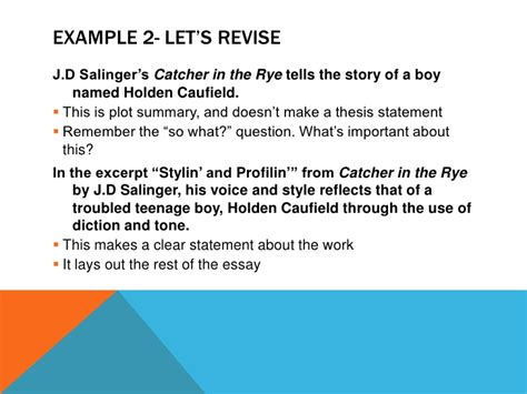 theme statement of catcher in the rye taking your writing from good to great thesis statements