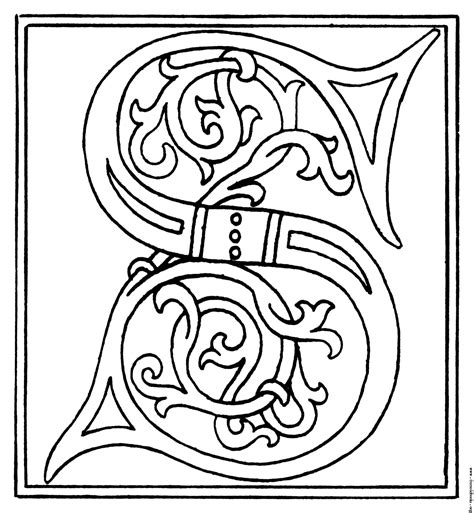 free coloring pages of a4 letters clipart initial letter s from late 15th century printed book