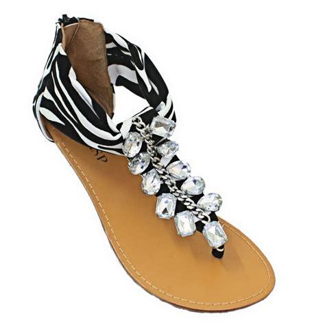 zebra print sandals womens jewelled gem zebra animal print toe post flat
