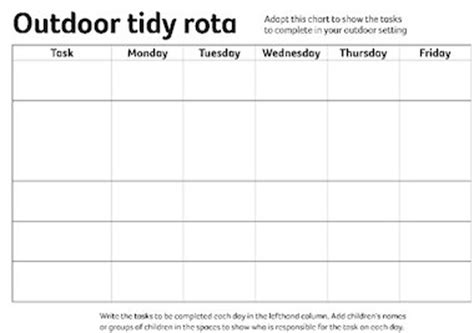 daily rota template outdoor tidy rota early years teaching resource scholastic