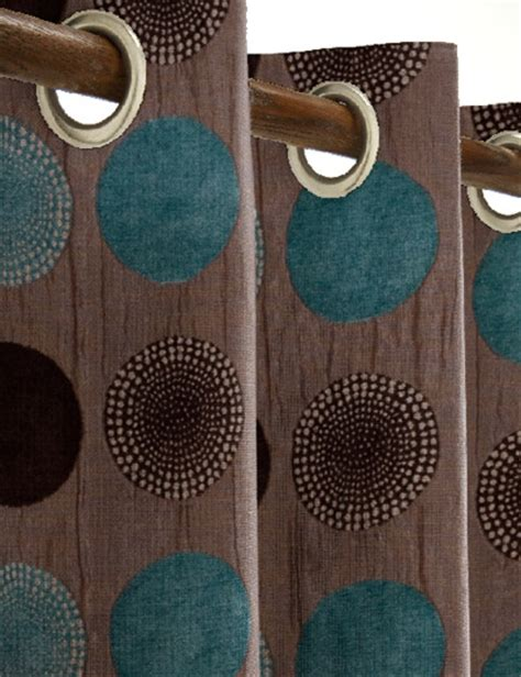 chocolate brown and teal curtains details for arnez teal chocolate next made to measure
