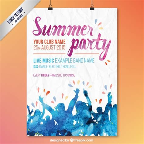 design poster for party watercolor summer party poster vector free download