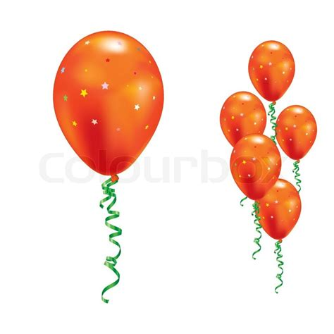 up a balloon with orange orange balloons with and ribbons vector illustration