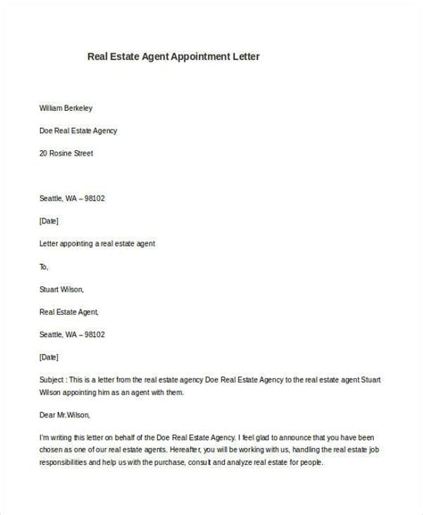 appointment letter format for real estate 7 sle appointment letter free sle exle