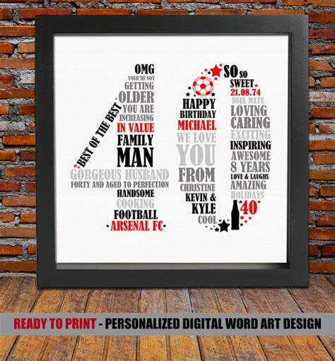 personalized 40th birthday gift for him 40th by blingprints