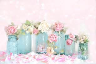 dreamy shabby chic pink white roses vintage aqua teal ball jars romantic floral roses