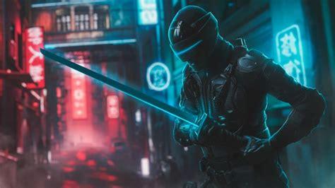wallpaper futuristic character neon streets sword mask
