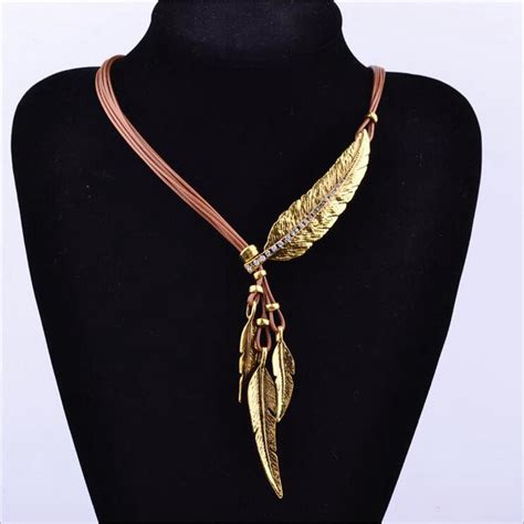 new pattern gold necklace new fashion bohemian style bronze rope chain feather