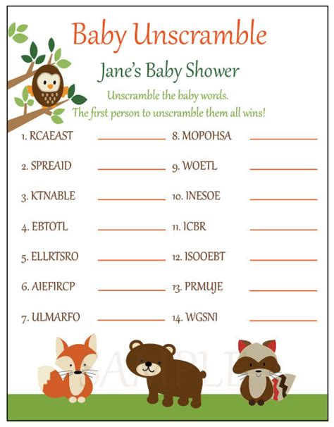 printable baby shower games unscramble words baby shower games unscramble baby shower decoration ideas