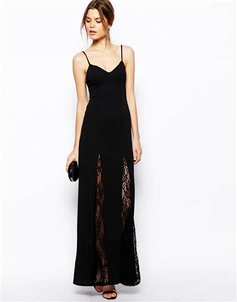 Dress Maxi Dress Wanita Maxi 1 lyst asos lace insert cami maxi dress in black