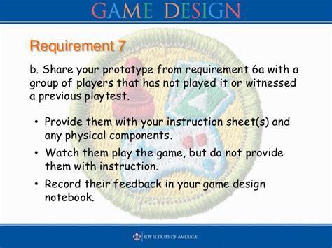 game design requirements bsa game design merit badge