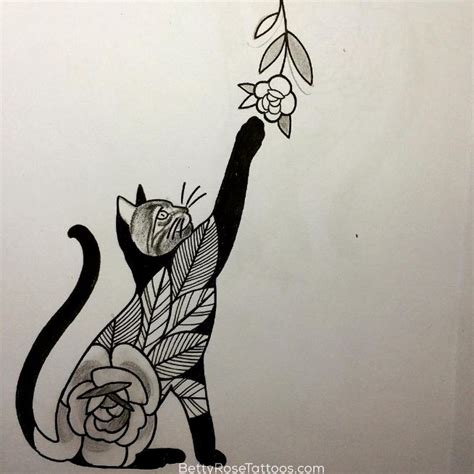 tattoo cat and rose rose cat tattoo design by betty rose this would be a